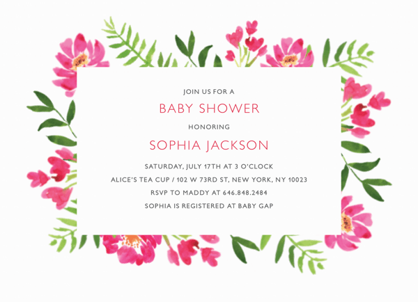 Floral Square Baby Shower