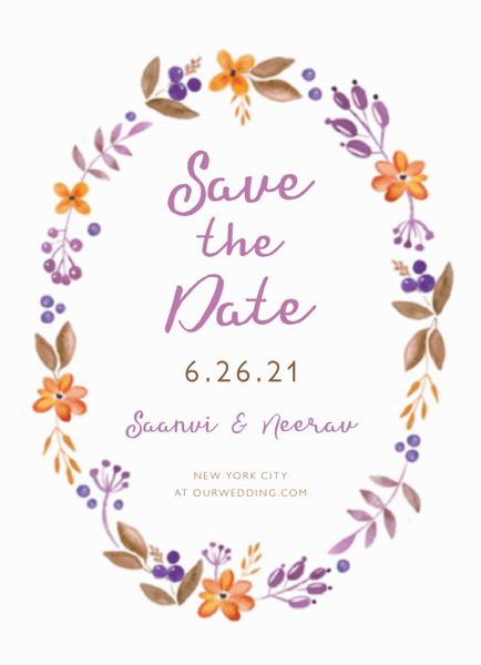 Floral Wreath Save The Date