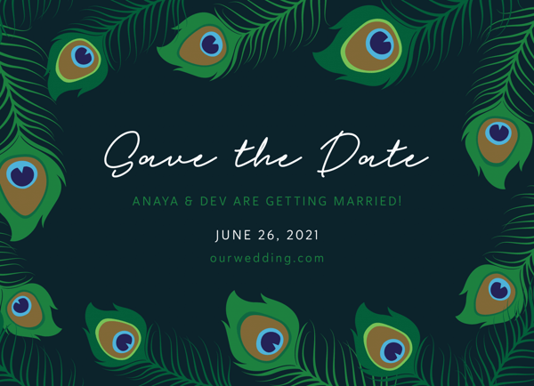 Peacock Feather Save The Date