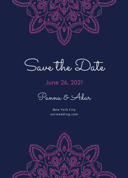 Fuchsia Mandala Save The Date