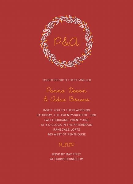 Red Initial Wreath Invite