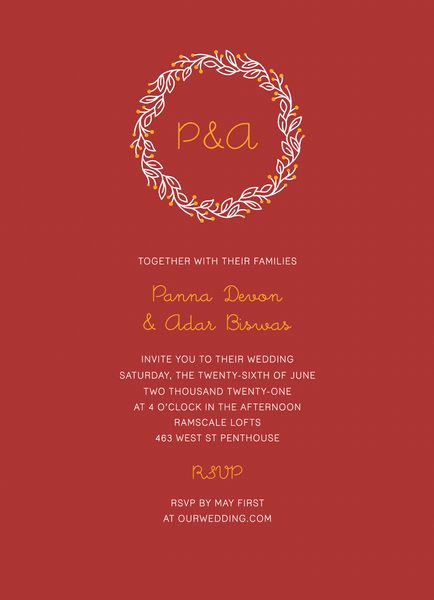 Red Initial Wreath Invite