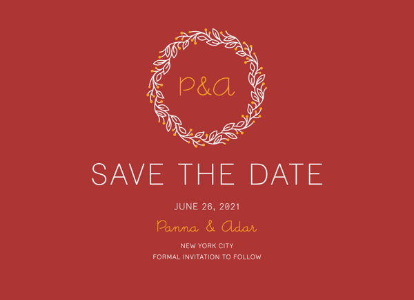 Red Initial Wreath Save The Date