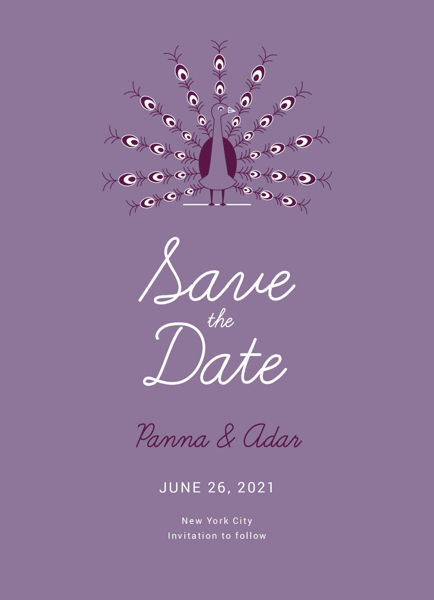 Art Deco Peacock Save The Date