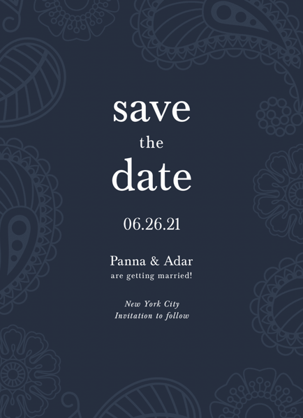 Blue Paisley Save The Date