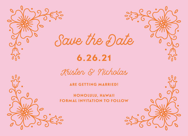 Orange & Pink Floral Save The Date