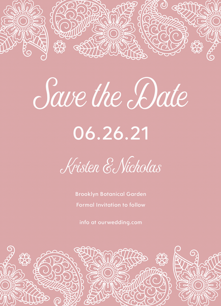 Pink Paisley Lace Save The Date