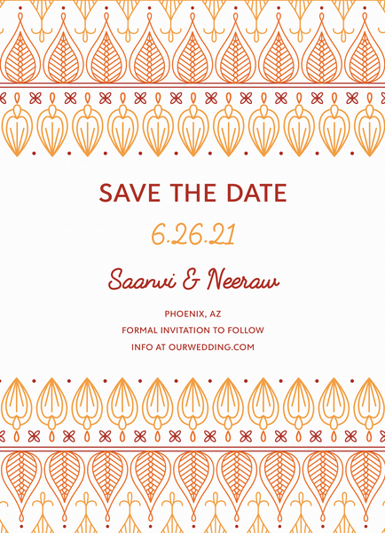 Ochre Ornament Save The Date