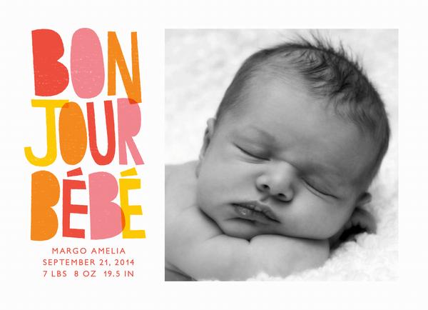 Bonjour Red Birth Announcement