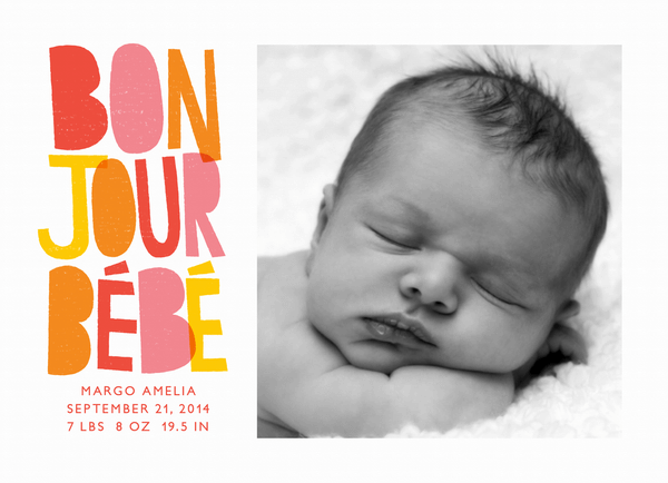 Bonjour Red Birth Announcement