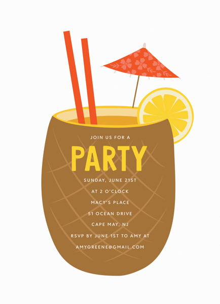 Pineapple Cocktail Invite