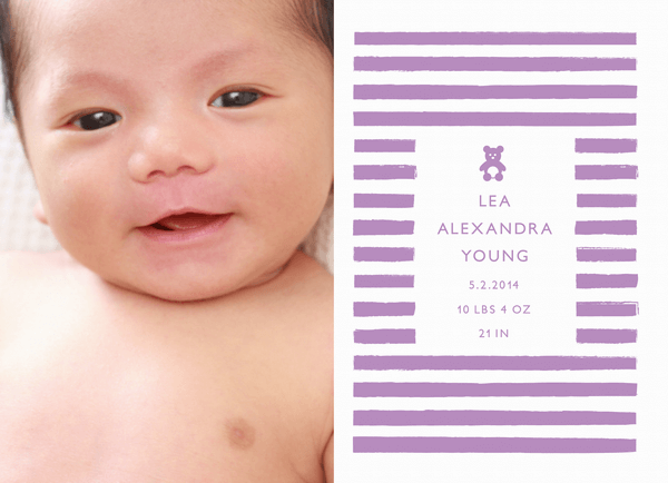 Teddy Violet Birth Announcement