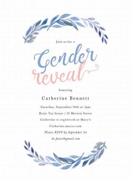 Watercolor Branch Gender Reveal