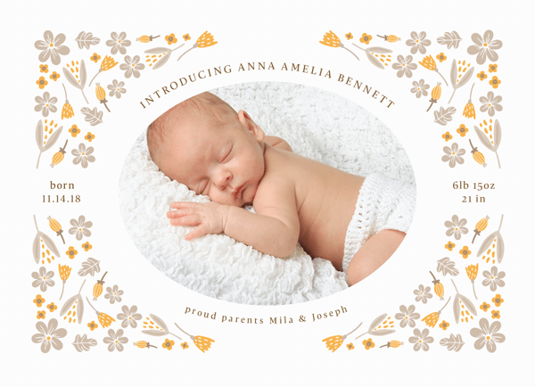 Floral Corners Birth Announcement