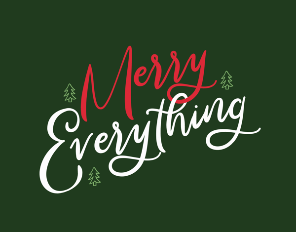 green and red merry everything greeting card