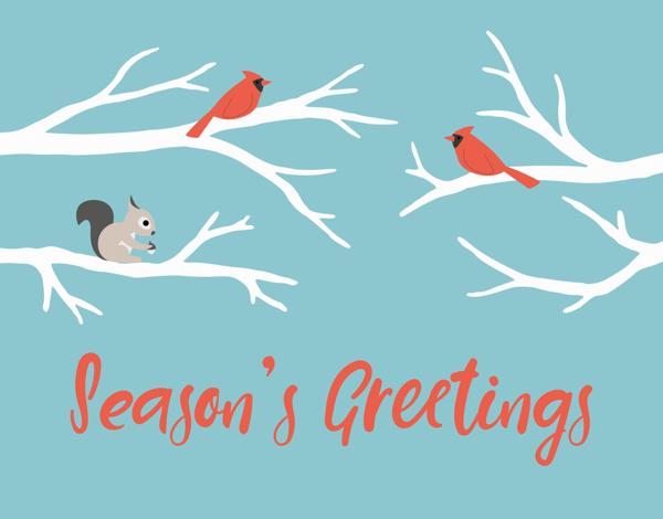 season's greetings card with animals
