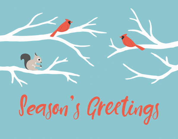 season's greetings card with animals