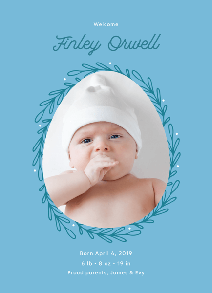 Blue Egg Birth Announcement