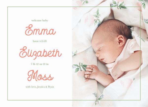 Blush Letters Birth Announcement