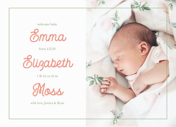 Blush Letters Birth Announcement
