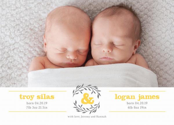 Twin Wreath Birth Announcement