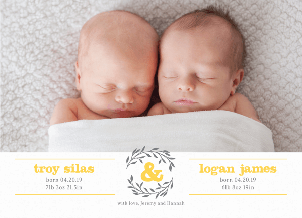 Twin Wreath Birth Announcement