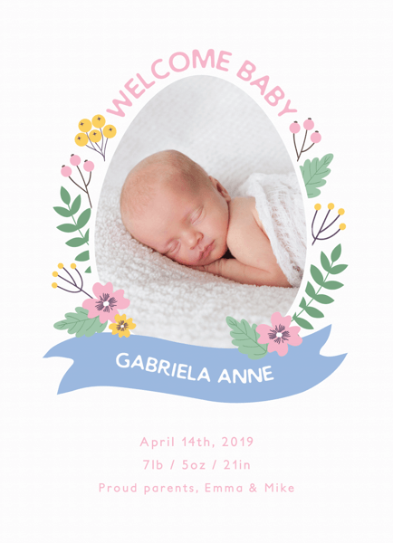 Springtime Egg Birth Announcement