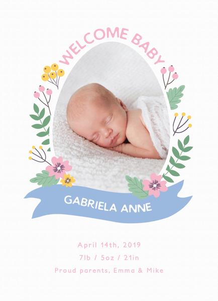 Springtime Egg Birth Announcement