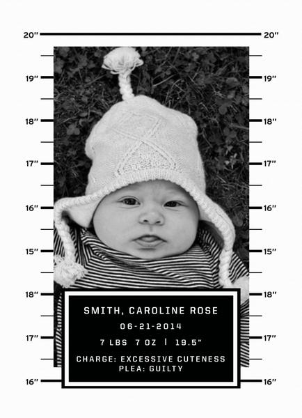 Mug Shot Birth Announcement