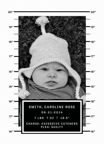 Mug Shot Birth Announcement