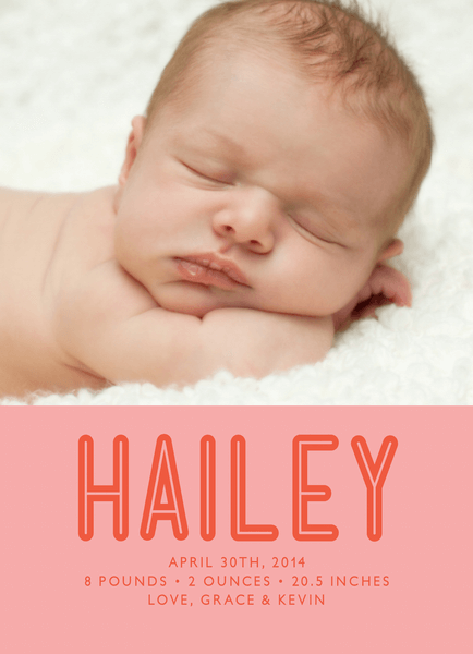 Bold Name Pink Birth Announcement