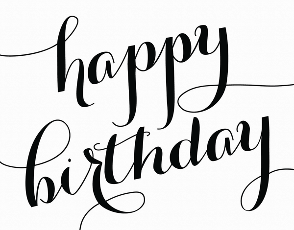 Elegant Script Birthday Card