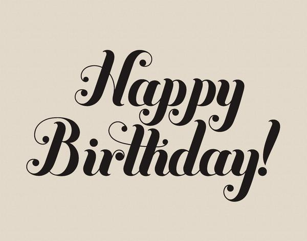Black Swirl Cursive Birthday Card