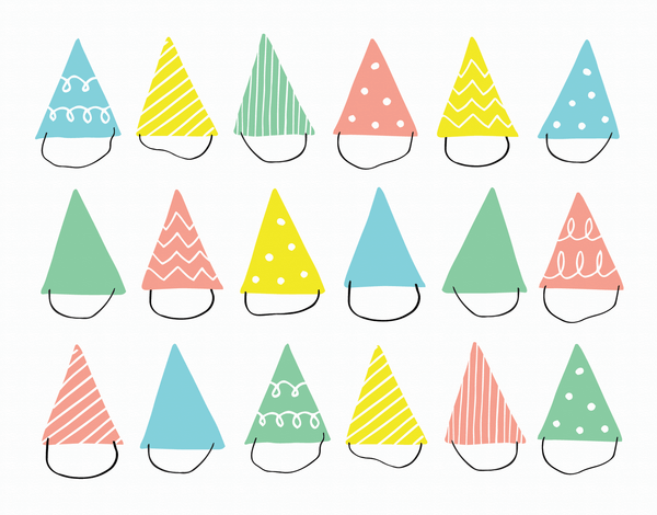 Pastel Party Hats Card