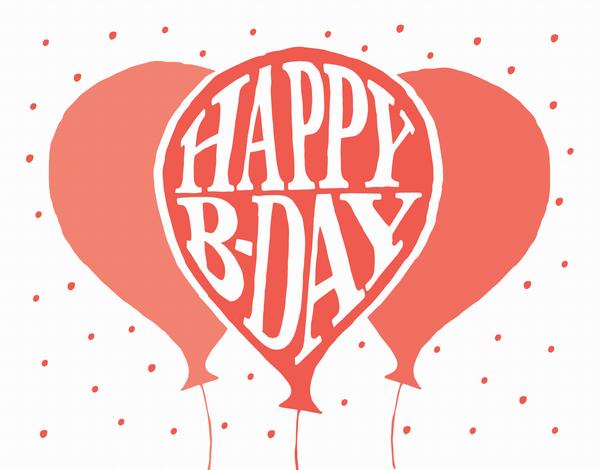 Festive Balloons Happy Bday Card