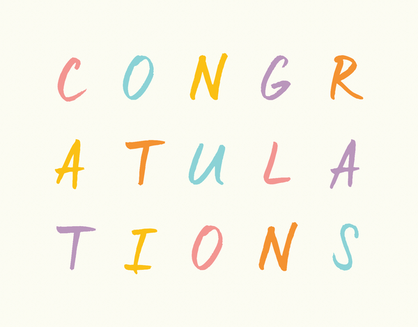 Colorful Congratulations Lettered Card