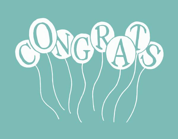 Aqua Balloons Congrats Card