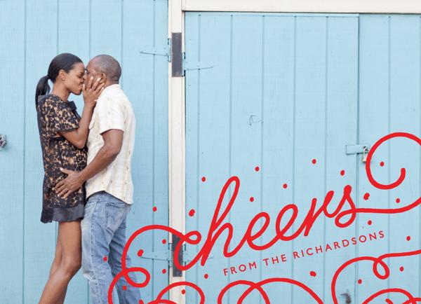 Red Flourish Cheers Holiday Card