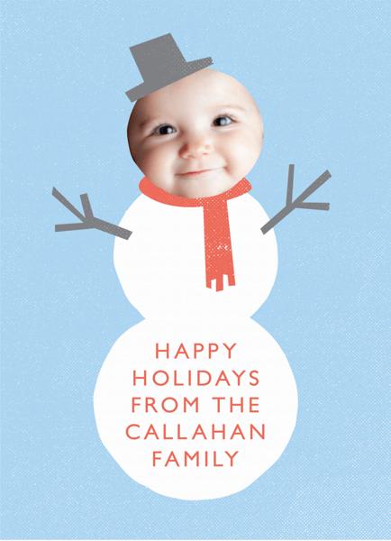Custom Photo Snowman Holiday Card