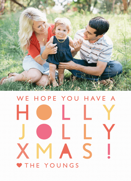 Modern Holly Jolly Christmas Card