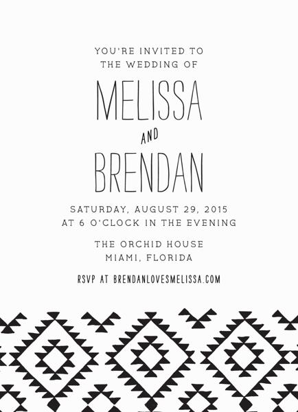 Black Kilim Wedding Invitation