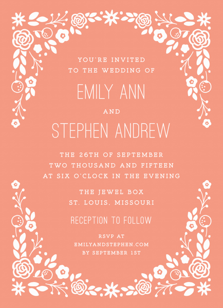 Peachy Florals Wedding Invitation