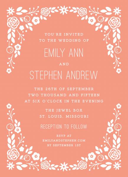 Peachy Florals Wedding Invitation