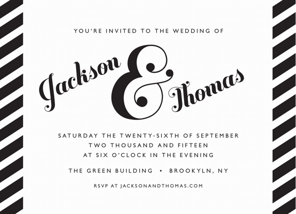Fancy Black Stripe Invitation