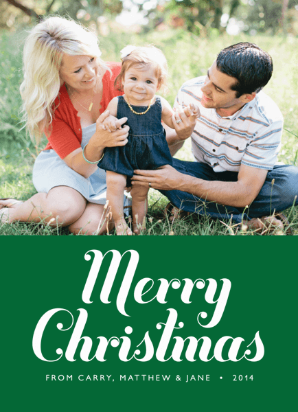 Classic Green Photo Holiday Card