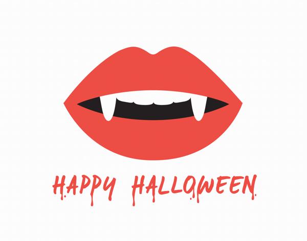 Fangs Halloween Card