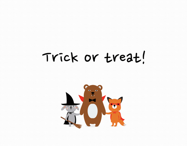 Trick or Treat Animals Halloween Card