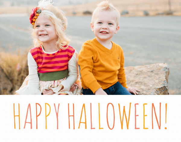 Orange Lettered Photo Halloween Card