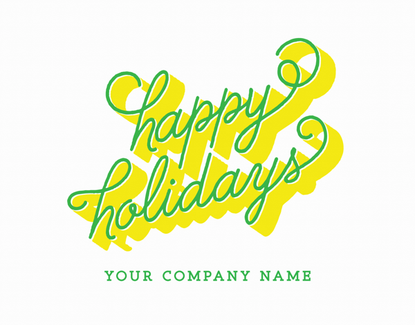 retro yellow and green business holiday card