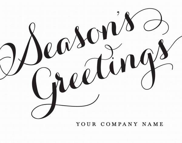 calligraphy season's greetings company holiday card